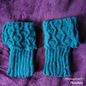 Turquoise Crocheted Boot Cuffs